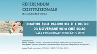 Referendum Costituzionale - Dibattito sulle ragioni del Sì e del No